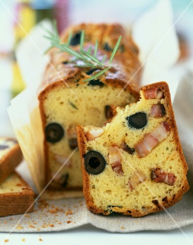 Country bacon and olive savoury cake
