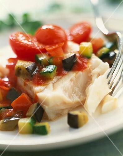 Alaska cod with summer vegetables