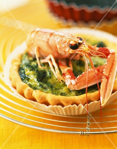 Leek tartlet with Dublin Bay prawn