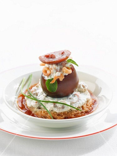 Black tomato stuffed with shrimps and fromage frais