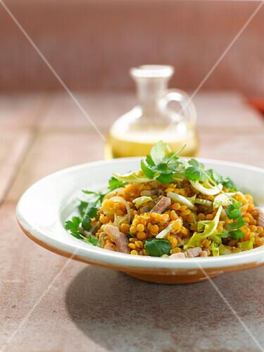 Orange lentil,diced bacon and parsley salad