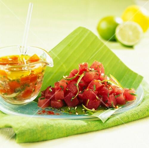 Tuna Tartare with fleur de sel sea salt and lime