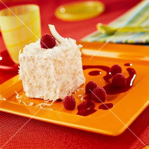 Coconut Mont-blanc with raspberry puree