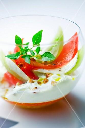 Revisited mozzarella and tomato Verrine
