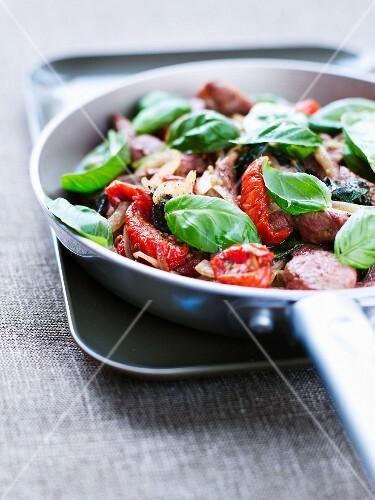 Lamb,basil and sun-dried tomato stir-fry