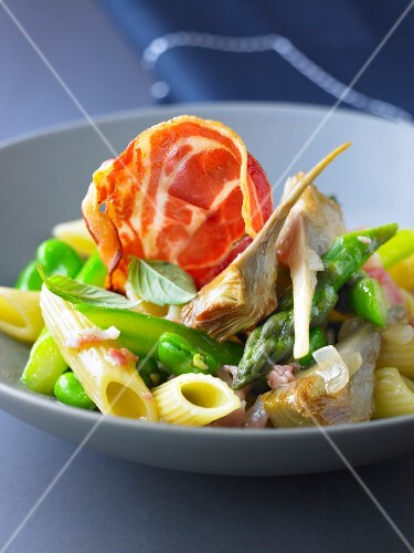 Pennes with broad beans,artichokes,asparagus and pancetta
