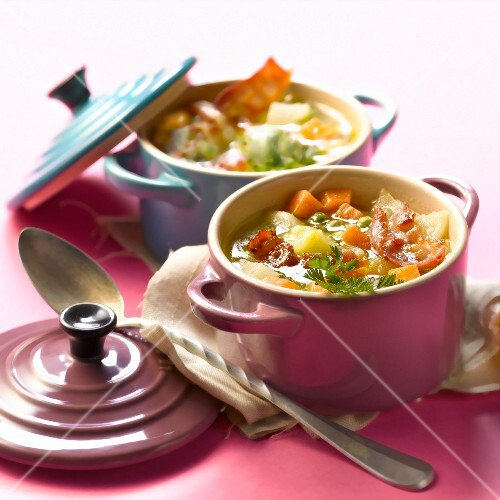 Rustic vegetable and bacon soup