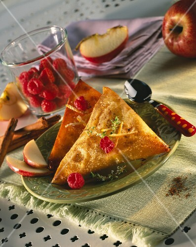 Summer fruit filo pastry pies