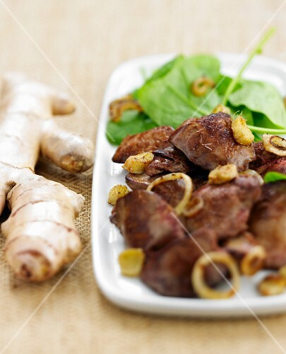 Sauteed chicken livers with ginger