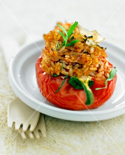 Red pepper stuffed with basmati rice