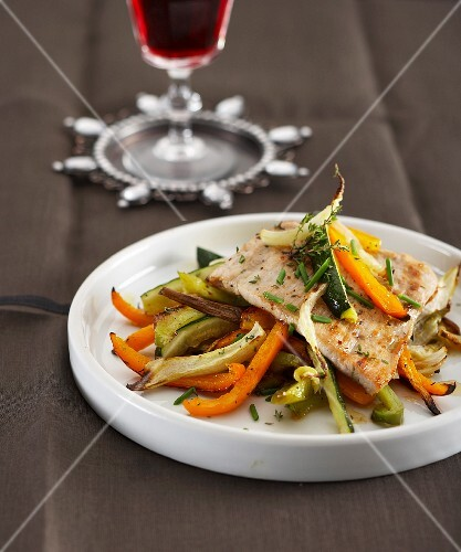 Veal escalope with roast vegetables