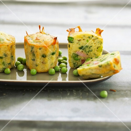 Pea and diced bacon Madeleines