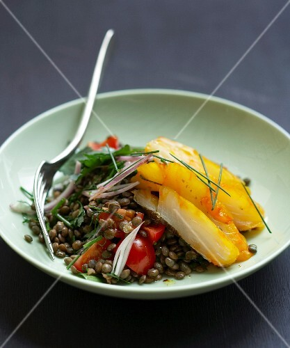 Green lentil and haddock salad with herbs