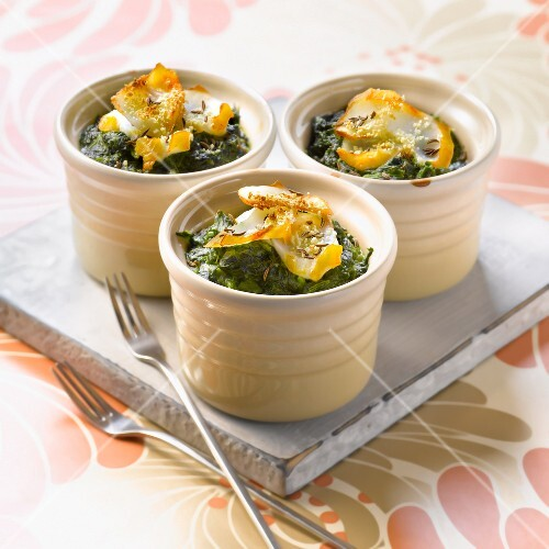 Haddock,two spinach and cumin gratin