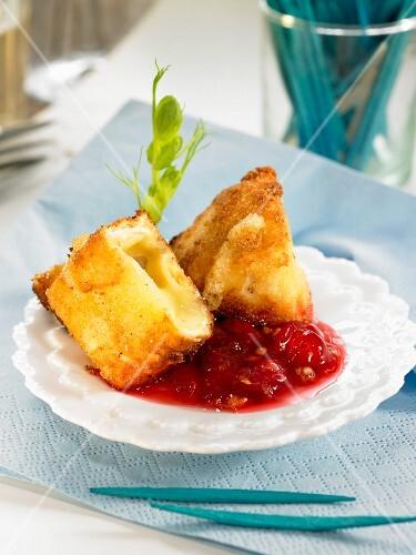 Fried Camemebert with bilberries