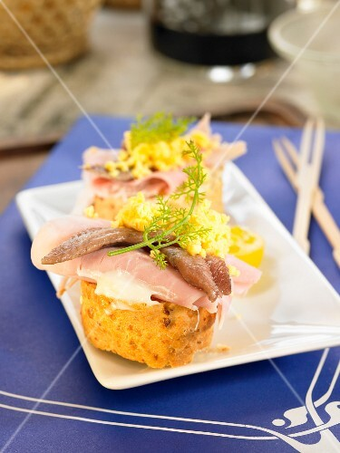 York ham, egg and anchovy open sandwich
