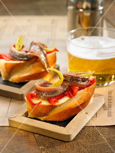 Del pequillo pepper and anchovy open sandwich