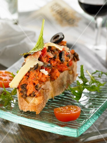 Sobrasada, cheese and olive open sandwich