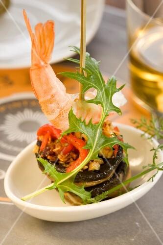 Dublin Bay prawn and mushroom brochettes
