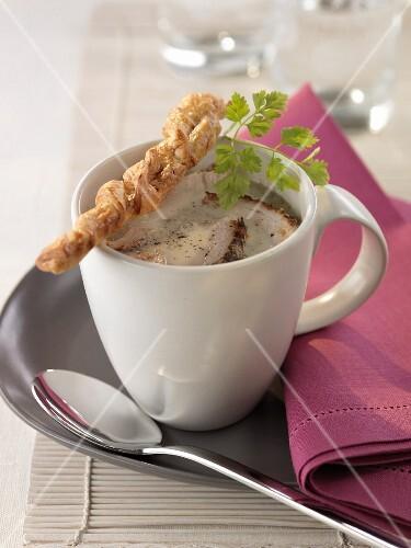 Cream of mushroom and pork soup