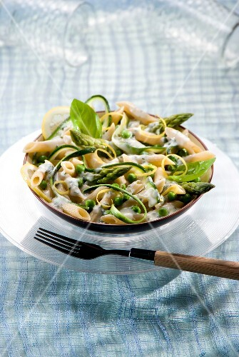 Rigatoni with green vegetables and cheese sauce