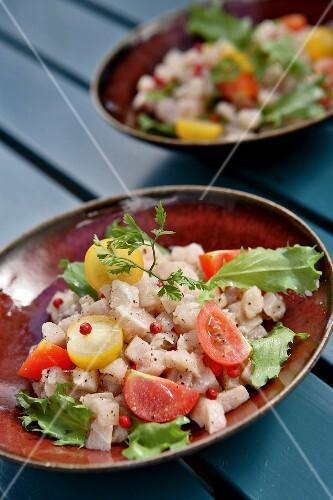 Swordfish Tartare with pink peppercorns and Menton lemon juice