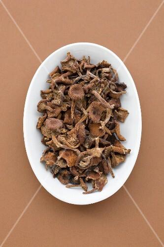 Dish of dried mushrooms