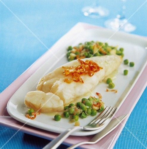 Monkfish with mace and peas