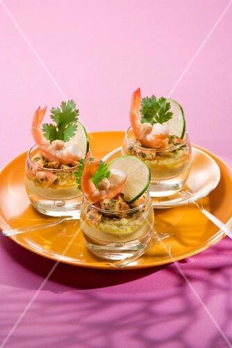 Chickpea puree and shrimp Verrines