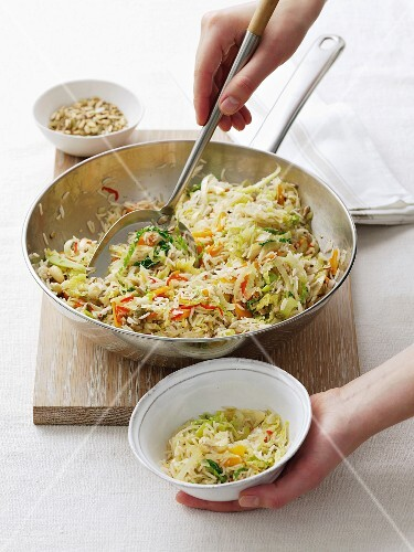 Rice and cabbage stir-fry