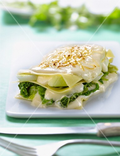 Leek and curly cabbage lasagnes