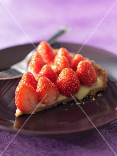 Portion of strawberry tart