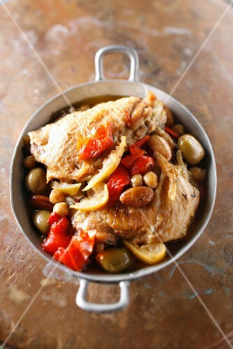 Chicken,confit citrus and olive casserole
