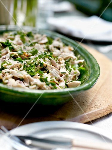 Flaked chicken and herb salad