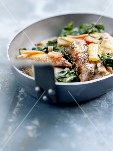 Guinea-fowl and swiss chard fricassée with green tapenade