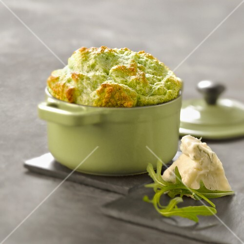 Rocket and gorgonzola soufflé cooked in a casserole dish