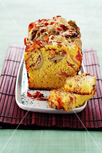 Artichoke,Serrano ham and Comté savoury cake