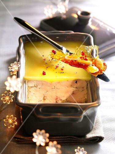 Foie gras and nougatine terrine
