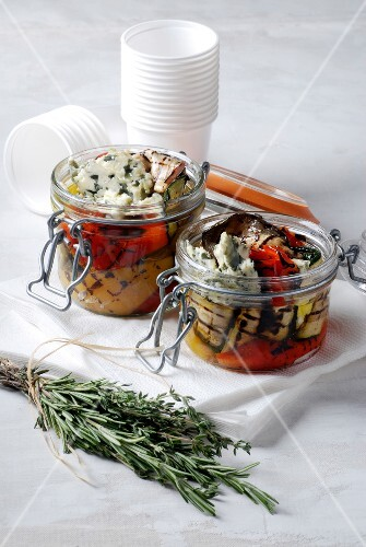 Grilled vegetables with roquefort
