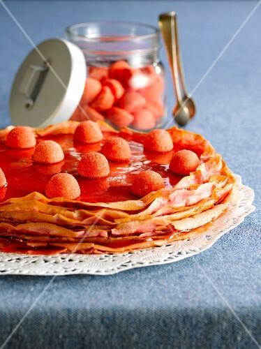 Pancake and strawberry Tagada candy pancake Mille-feuille