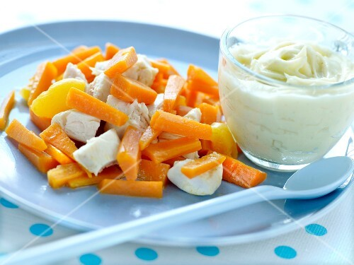 Chicken,carrot and apricot fricassée,parsnip puree