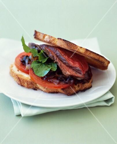 Beef,tomato and onion-raisin chutney toasted sandwich