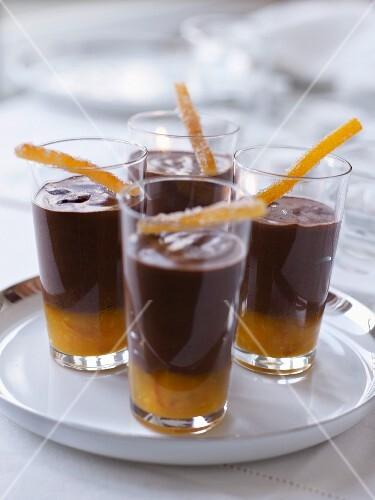 Orange marmelade and chocolate cream desserts