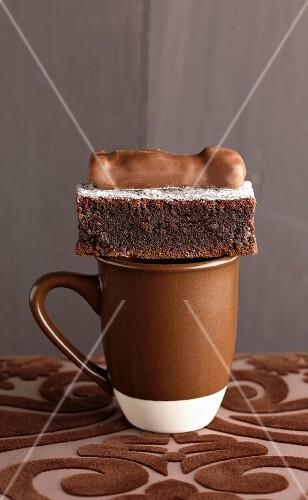 Soft chocolate cake and chocolate bear