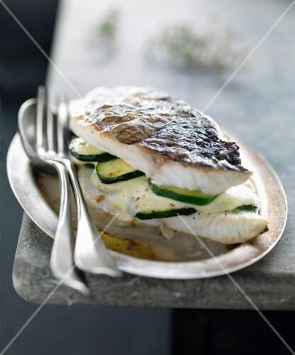 Sea bream, mozzarella and zucchini Mille-feuille