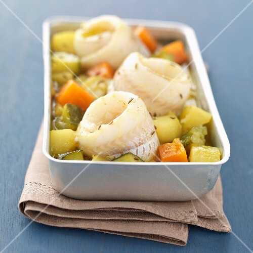Roast fillet of whiting with vegetables