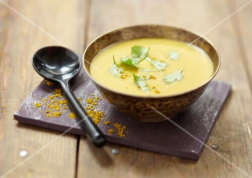Orange lentil and curry soup