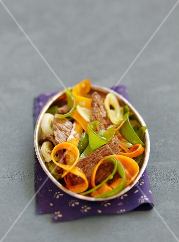 Marinated beef and young vegetable salad with soya dressing