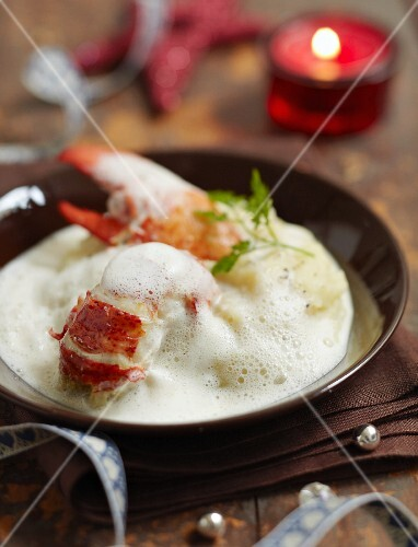 Lobster with Champagne emulsion and celeriac puree