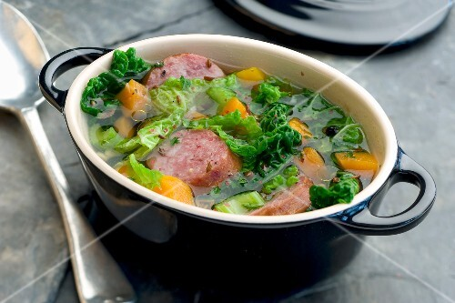 Cabbage and Morteau sausage soup